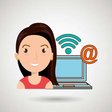 woman with laptop: woman laptop wifi at vector illustration graphic