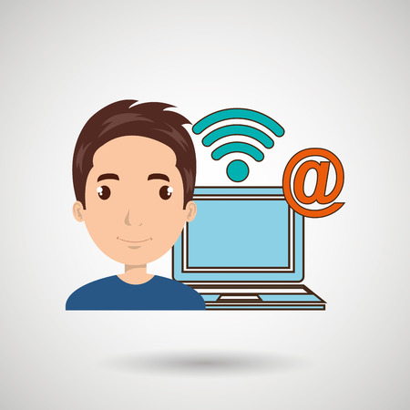 man laptop wifi at vector illustration graphic