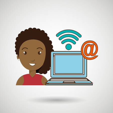 woman laptop wifi at vector illustration graphic