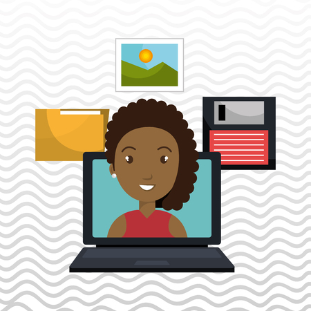 woman folder floppy laptop vector illustration graphic