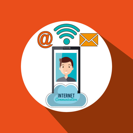 multimedia background: smartphone wifi service internet vector illustration graphic Illustration