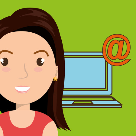 woman laptop: woman laptop wifi at vector illustration graphic