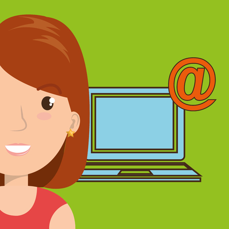 girl using laptop: woman laptop wifi at vector illustration graphic