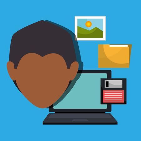 man folder floppy laptop vector illustration graphic