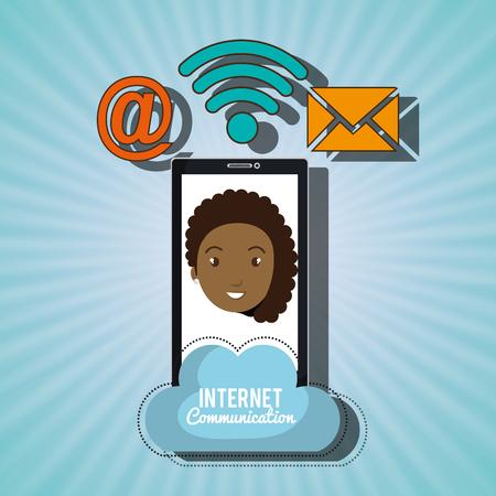 woman smartphone: woman smartphone wifi service vector illustration graphic Illustration