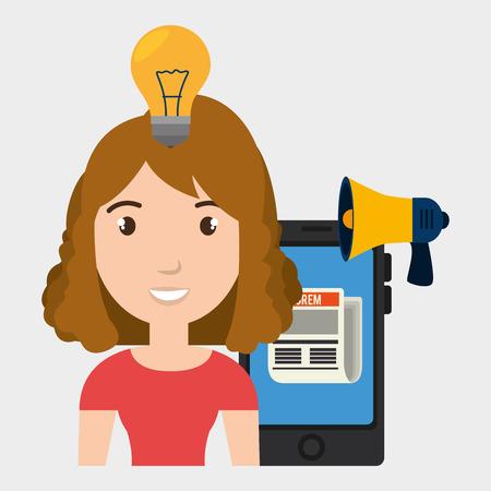 woman cellphone: woman cellphone speaker news vector illustration graphic