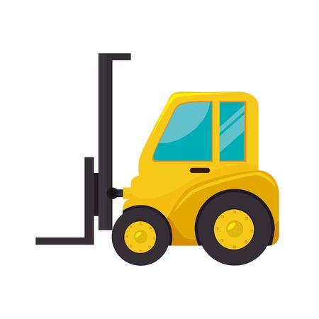 montacargas: carretilla elevadora tenedor de carga máquina hidráulica industrial vector aislado Ilustración