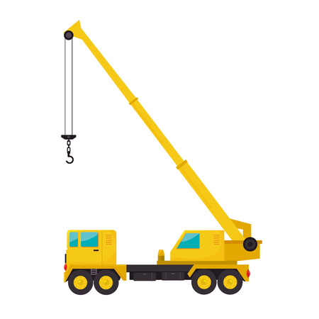 cargo crane  truck tractor machinery industry construction  vector  isolated illustration