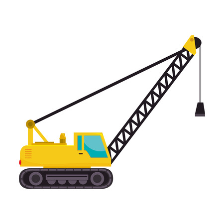 auto hoist: cargo crane  truck tractor machinery industry hammer vector  isolated illustration
