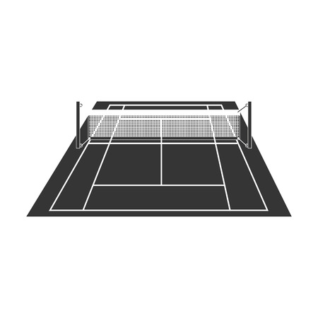 synthetic court: tennis field court net stripe green sport game  vector  isolated illustration