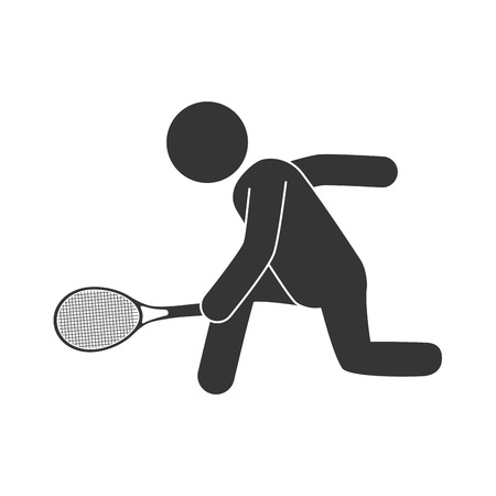 moving down: tennis man playing racket athlete moving game hand vector  isolated illustration