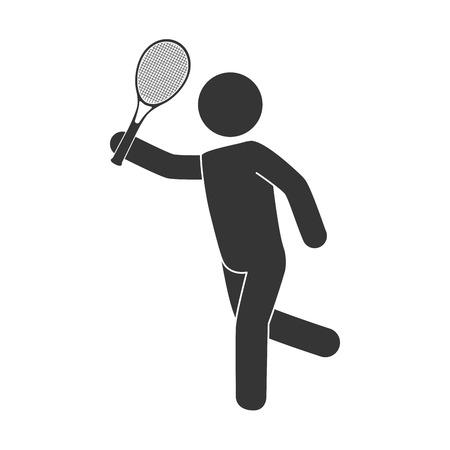 slip homme: Tennis homme jouant raquette athlète mouvement illustration vecteur jeu isolé main