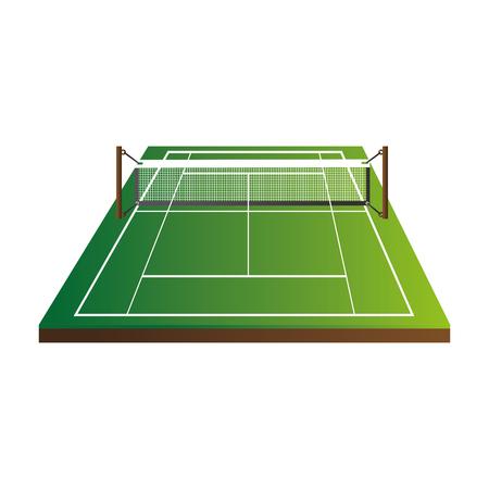 bottom line: tennis field court net stripe green sport game  vector  isolated illustration