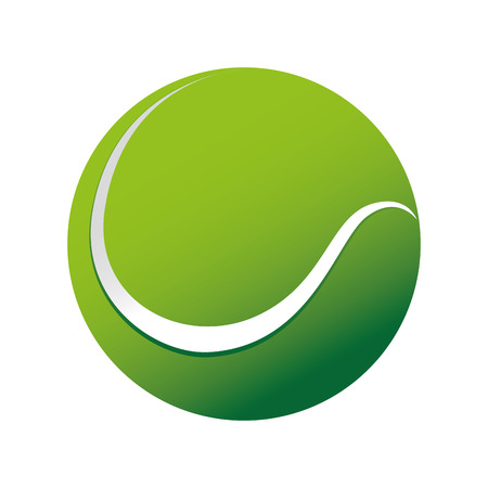 ball tennis green circle sport game object vector  isolated illustration