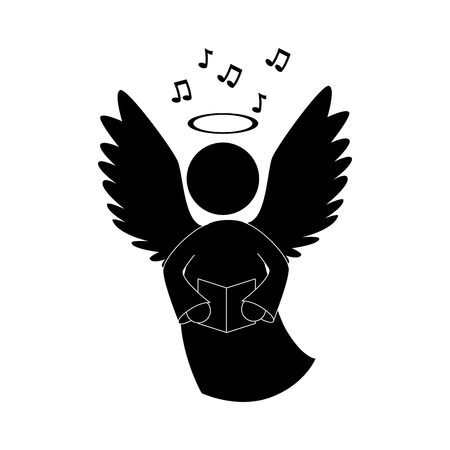 angelic: angel heaven singing musical instrument halo wing  vector  isolated illustration