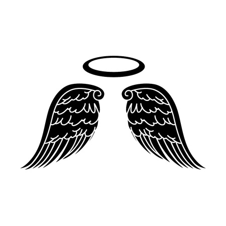 wing halo angel heaven aureole bird freedom vector  isolated illustration Illustration