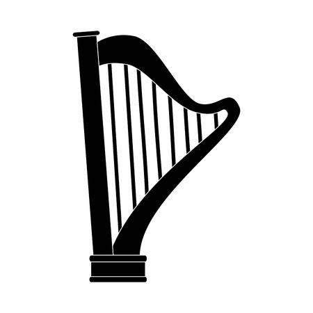 conservatory: harp instrument musical lyre classic old play vector  isolated illustration