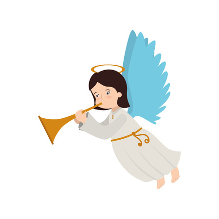 angelic: angel heaven trump play musical instrument halo wing  vector  isolated illustration
