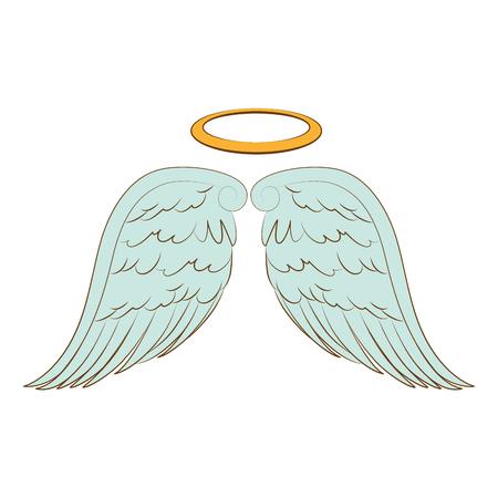 wing halo angel heaven aureole bird freedom vector  isolated illustration Vectores