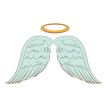 aureole: wing halo angel heaven aureole bird freedom vector  isolated illustration Illustration