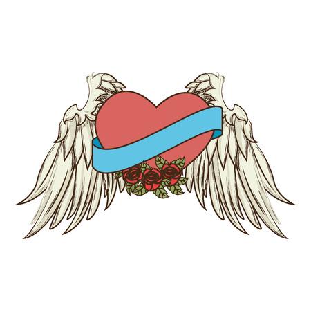 romance: heart wing love romance  vector  isolated illustration