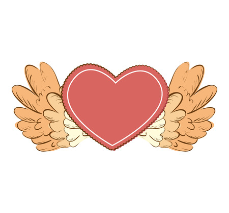 valentine passion: heart wing love romance valentine passion vector  isolated illustration
