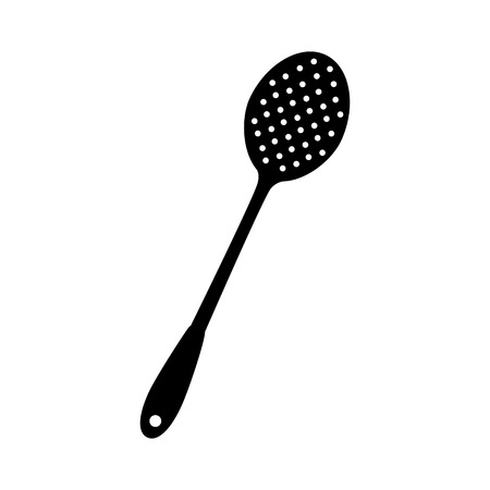 swivel: slotted spoon kitchen utensils handle spoon big vector  isolated illustration