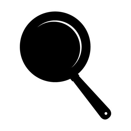 saute: pan frying kitchen utensil handle cook fry  vector  isolated illustration