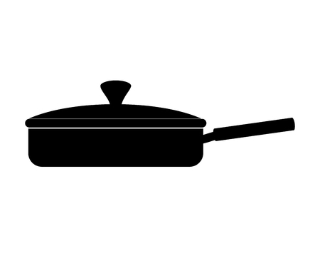 saute: pan frying kitchen utensil handle cook fry cap vector  isolated illustration