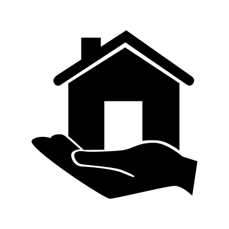hand holding house: hand holding house home window property traditional classic door roof vector  isolated illustration Illustration