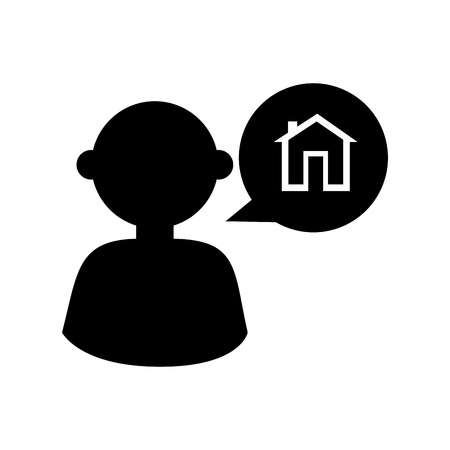 house agent: man male house agent real communication talking bubble silhouette  vector  isolated illustration Illustration