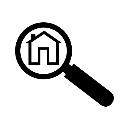 analyzing: house lupe search home analyzing lens real vector  isolated illustration