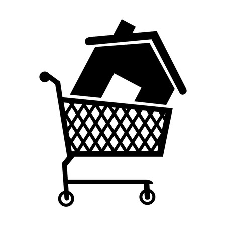 residential home: cart house buy add home residential building  vector  isolated illustration