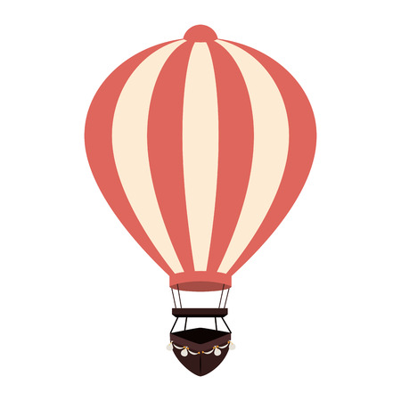 ballooning: hot balloon air pink stripes travel basket sky vector  isolated illustration