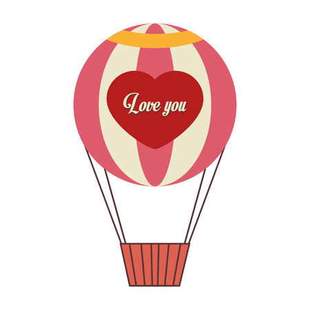 hot balloon air love heart love you stripes red pink travel basket sky vector  isolated illustration Illustration