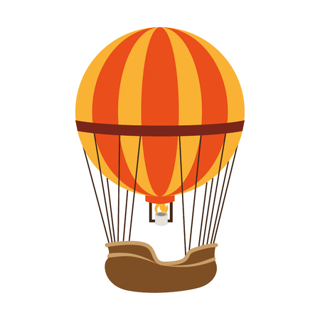hot balloon air stripes fire travel basket sky yellow orange vector  isolated illustration