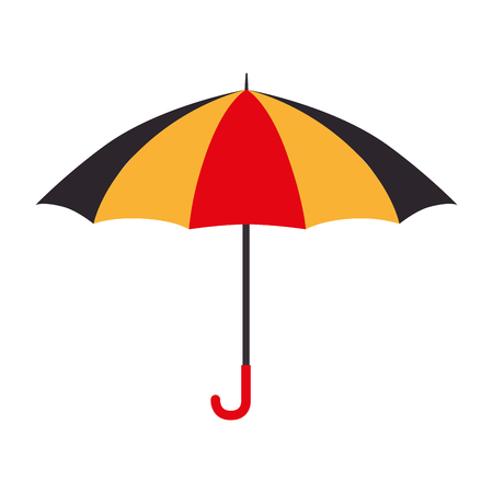 nylon: umbrella striped color handle rain open weather vector  isolated illustration Illustration