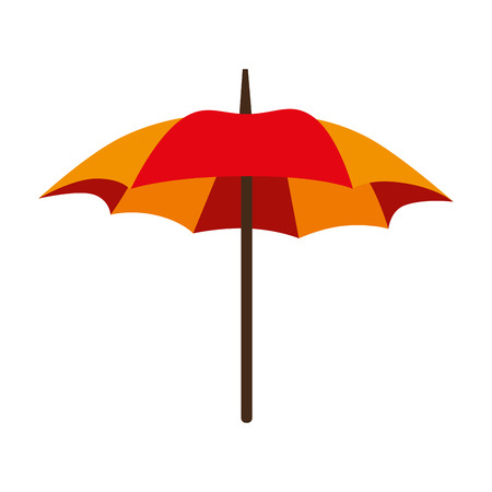 individual color: umbrella parasol striped color handle rain open weather vector  isolated illustration