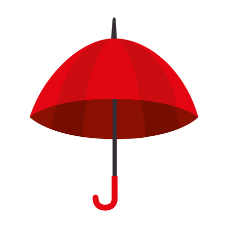 umbrella striped color red handle rain open weather vector  isolated illustration Illustration