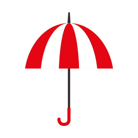 individual color: umbrella striped color handle rain open weather vector  isolated illustration Illustration
