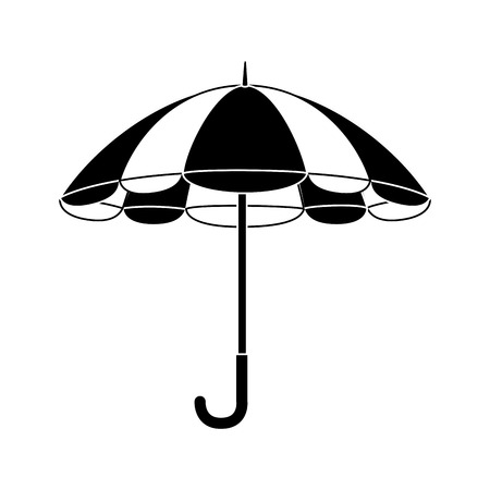 individual color: umbrella striped  handle rain open weather vector  isolated illustration