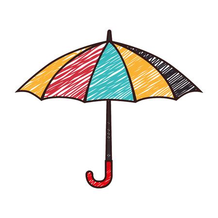 우산 스트라이프 컬러 스케치 처리 비가 열려 날씨 벡터 격리 된 그림 스톡 콘텐츠 - 61292609