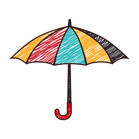 umbrella striped color sketch handle rain open weather vector  isolated illustration