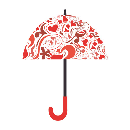 umbrella background colors flower heart handle doodle vector  illustration isolated