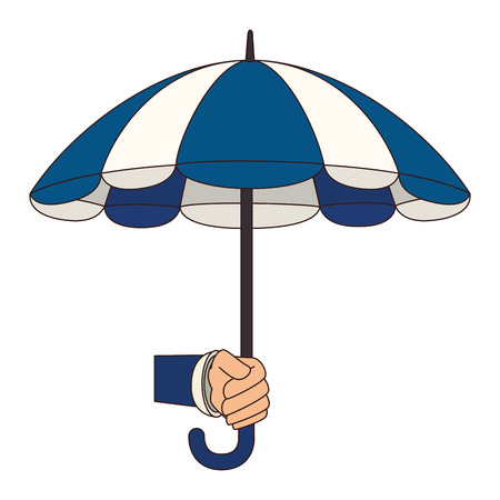 individual color: hand holding umbrella striped color handle rain open weather vector  isolated illustration