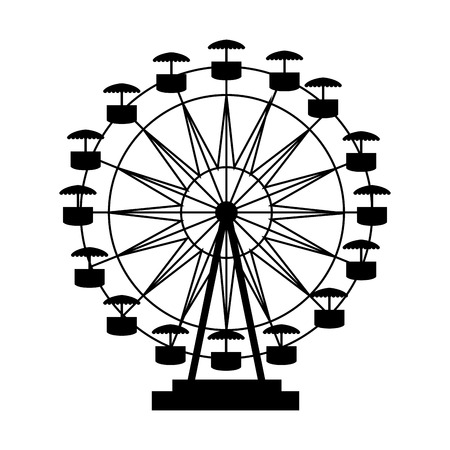 ferris wheel fair entretaiment round attraction fun vector  isolated illustration Çizim