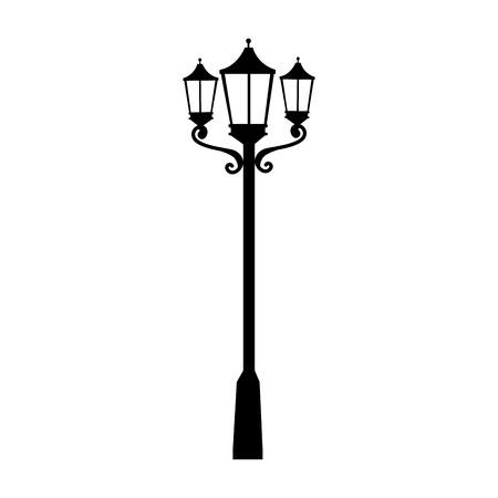 가로등 빛을 전기 우아한 도시 조명 벡터 격리 된 그림