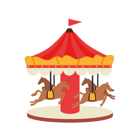 carrousel horse amusement fair entretaiment round attraction fun vector  isolated illustration Illustration