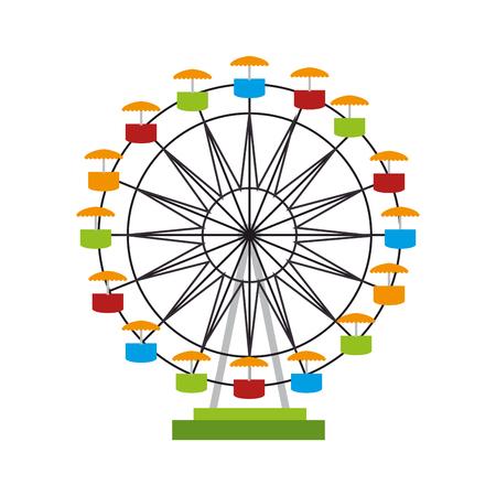 attraction: ferris wheel fair entretaiment round attraction fun vector  isolated illustration Illustration