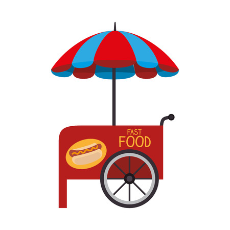 carretto gelati: ombrellone cibo stallo della spesa ruota fiera hotdog veicolo vettore isolato illustrazione